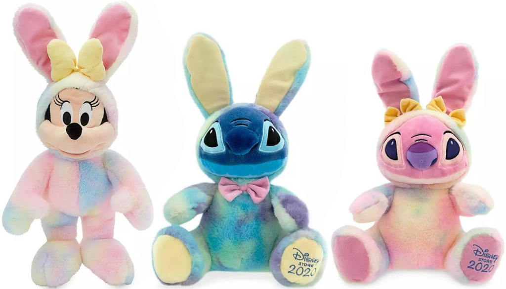 Three Disney character plush toys
