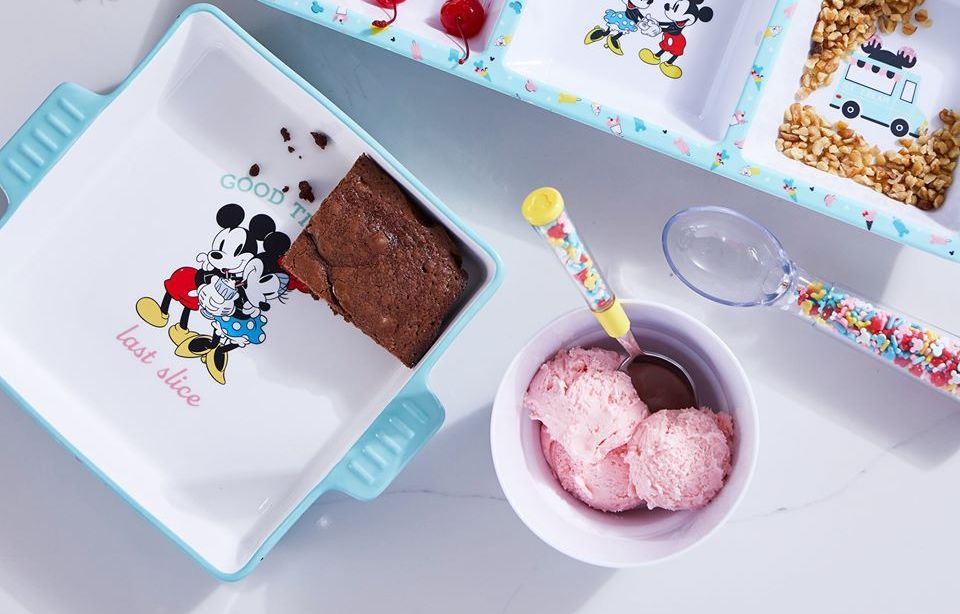 pan with brownies next to a bowl with ice cream