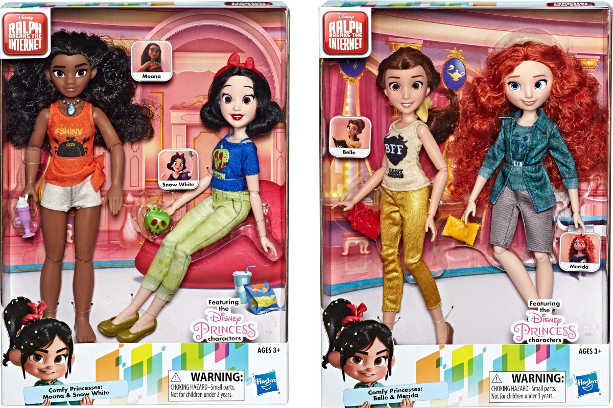 Two packages of Disney princess dolls in comfy outfits