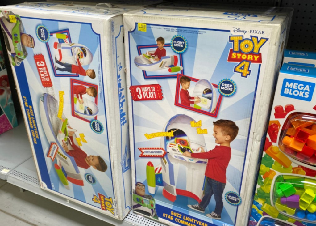 two boxes on shelf of Disney Pixar Toy Story 4 Buzz Lightyear Star Command Center