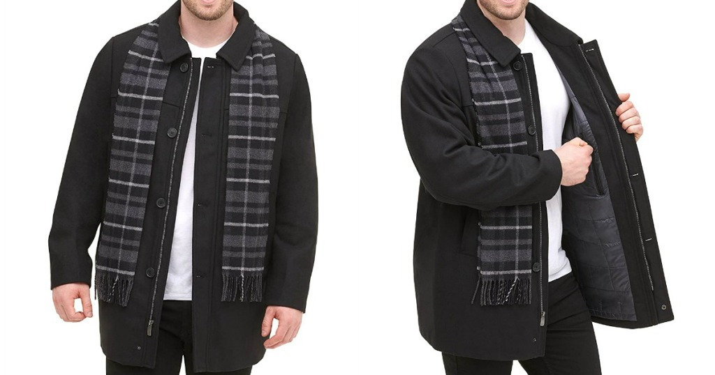 two images of a man wearing a jacket