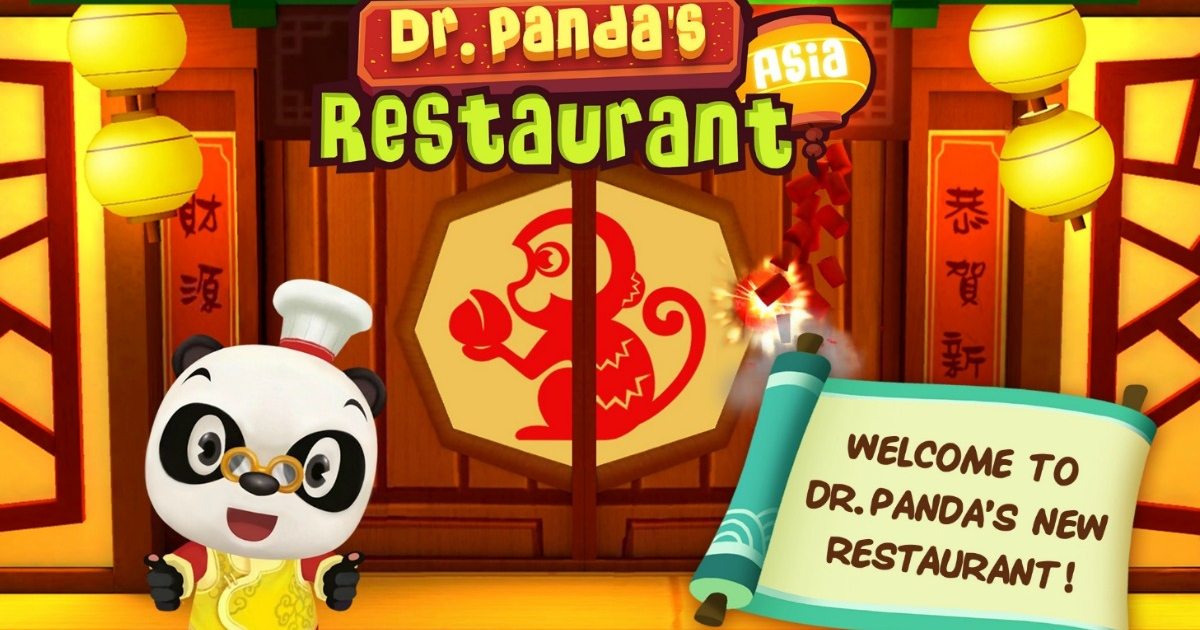 Dr. Panda Restaurant with Panda out in front of the restaurant