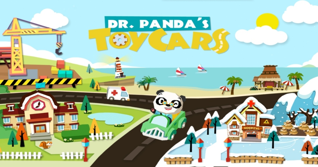 Dr. Panda Toy Cars App with Panda in a car on the road