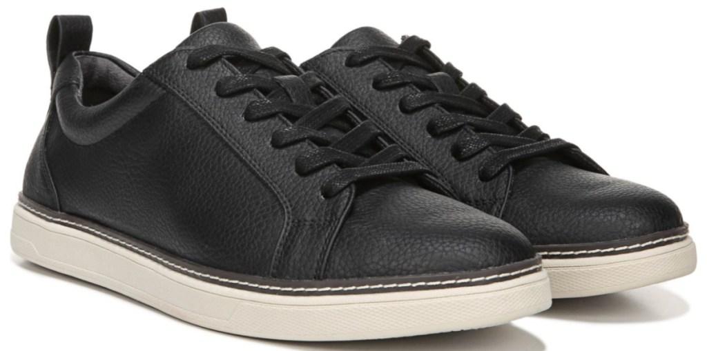black faux leather lace up shoes