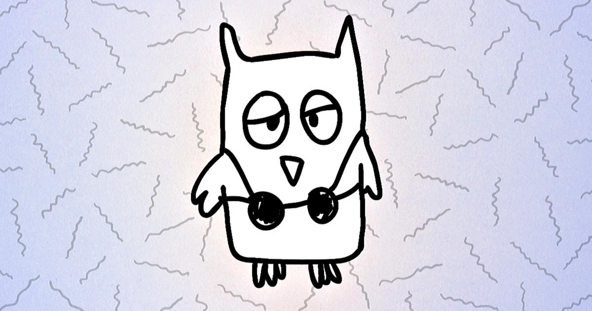 illustration of an owl wearing a bikini top