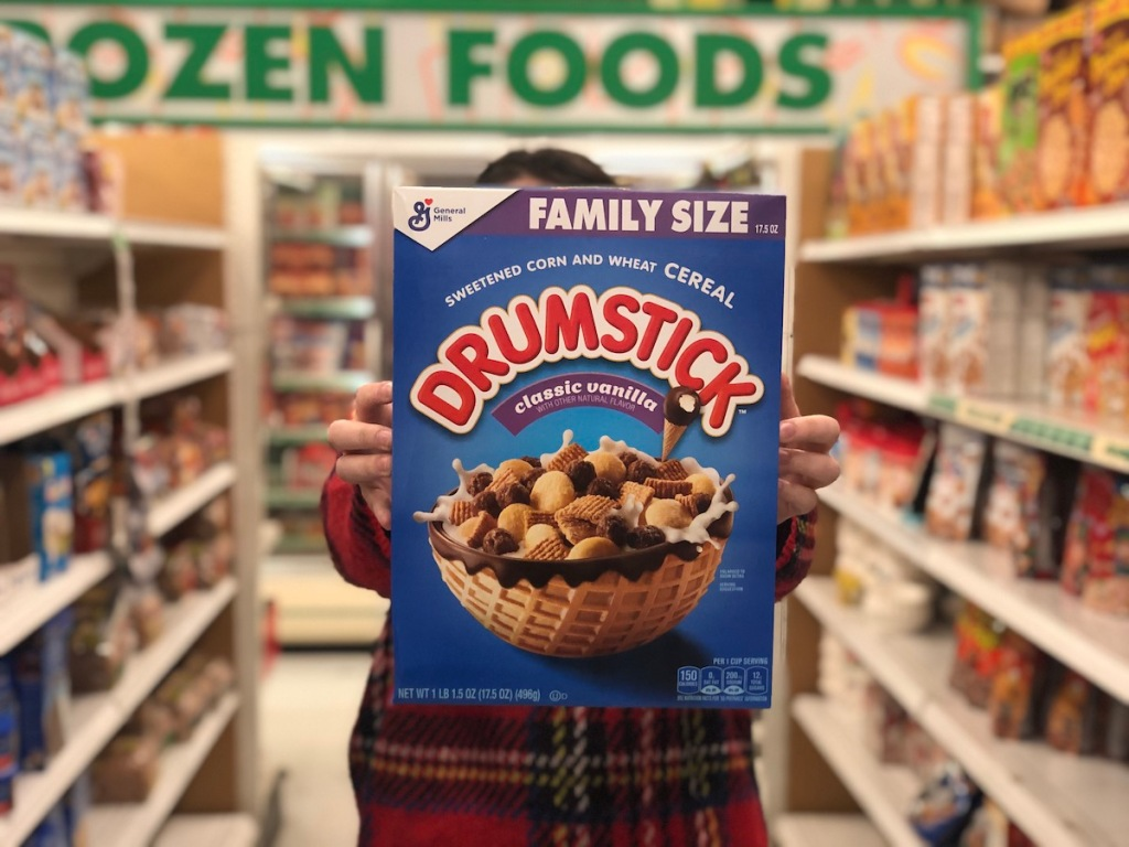 Woman holding Drumstick Cereal