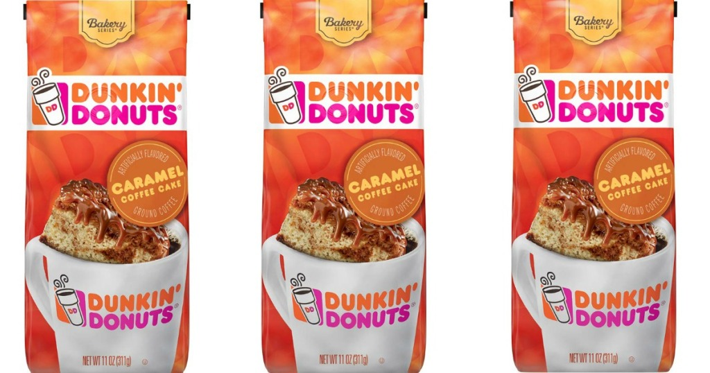 three bags of Dunkin Donuts coffee