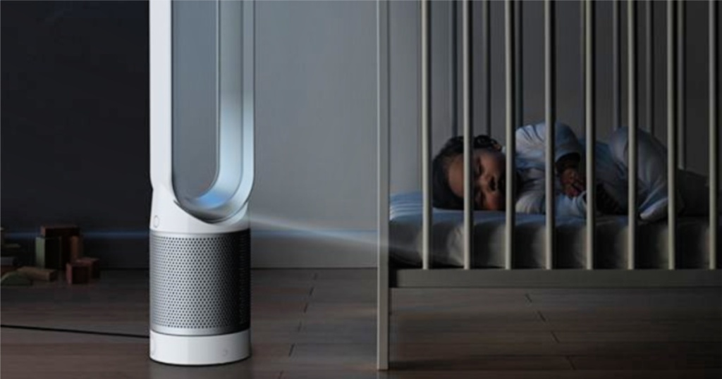baby sleeping in crib with DYSON PURE COOL TOWER PURIFIER FAN