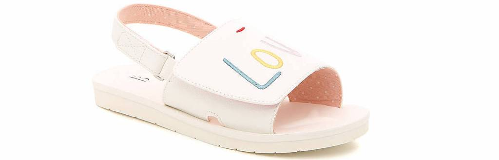 white sandal with LOVE on the top