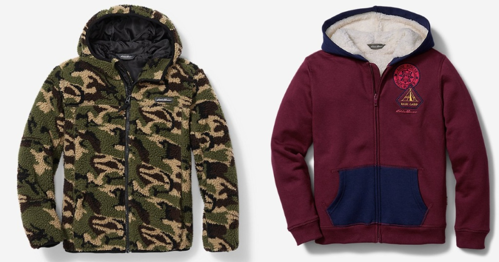 camo and Camp Fleece Sherpa-Lined Hoodie eddie bauer jackets
