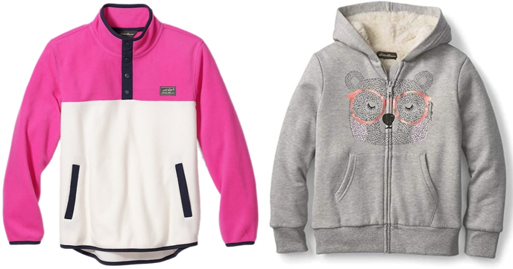 pink and white and grey Eddie Bauer Girls Fleece Jackets