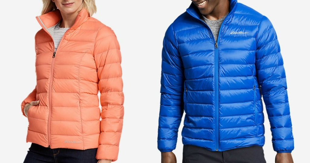 two people wearing down jackets