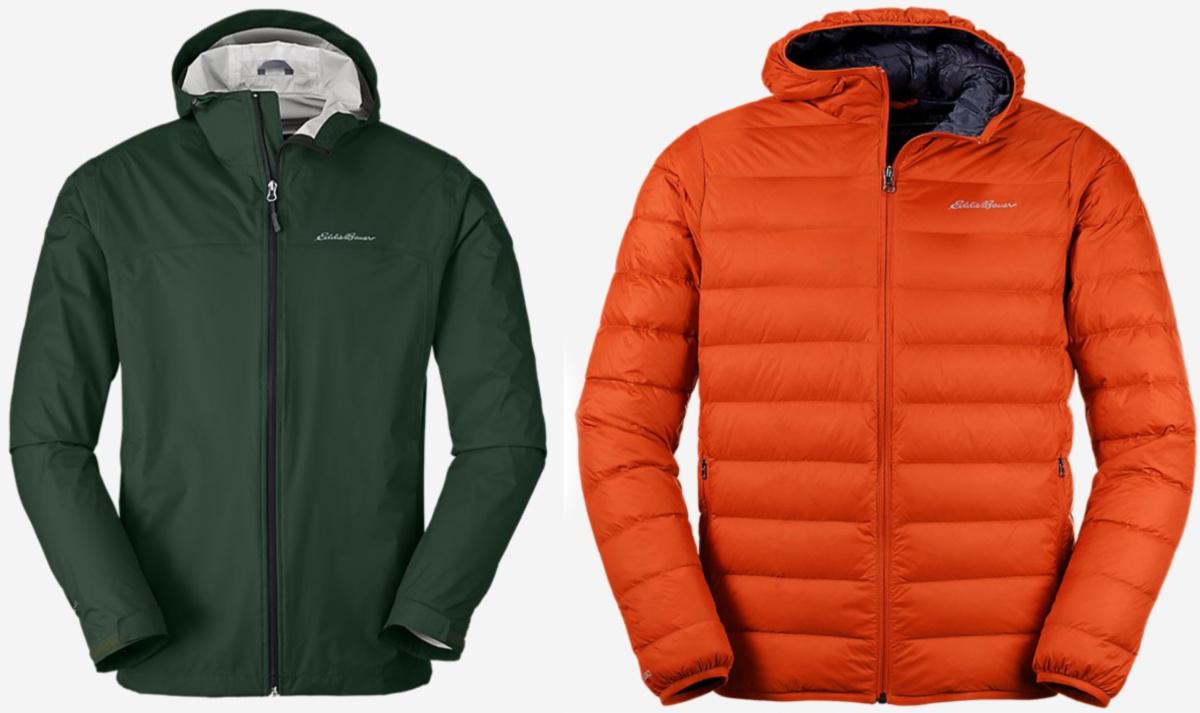green and orange eddie bauer jackets