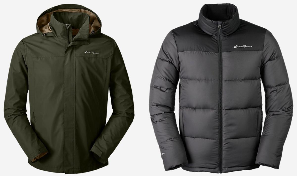 green and black eddie bauer jackets