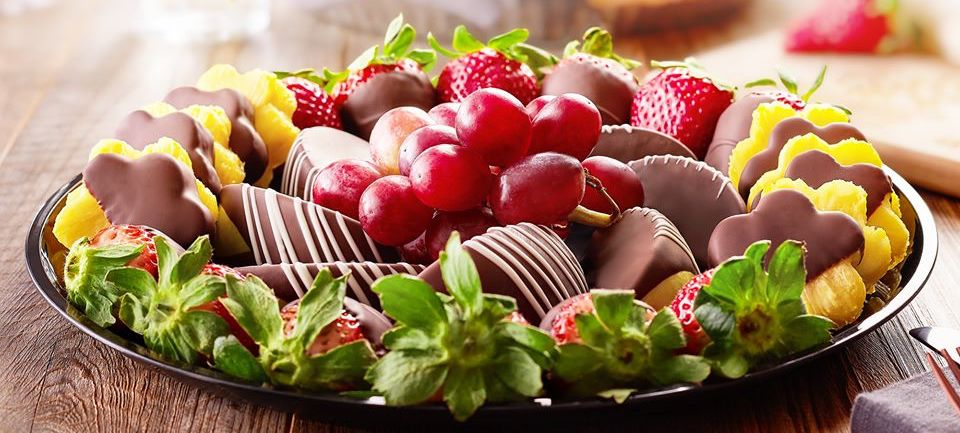 platter with chocolate dipped fruit