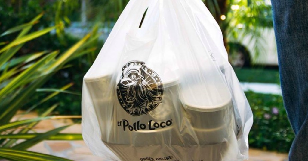 bag with El Pollo Loco on it