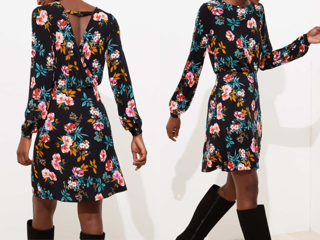 woman in black floral dress