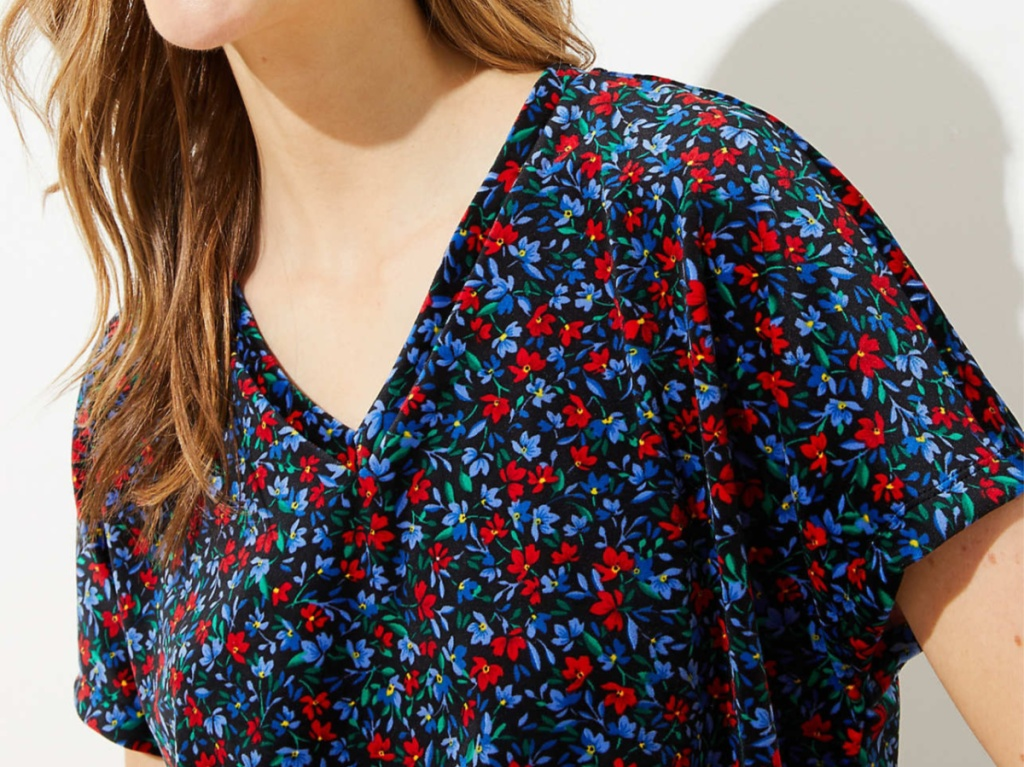 woman in red and blue floral velvet top