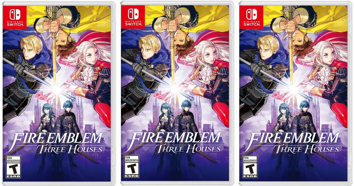three side by side stock images of fire emblem nintendo switch game