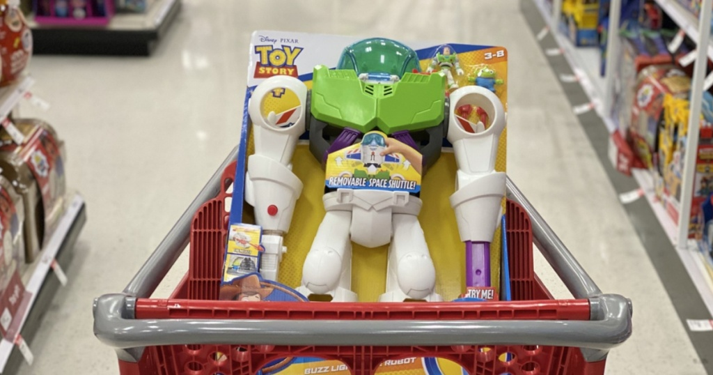 robot movie character toy in cart in store aisle