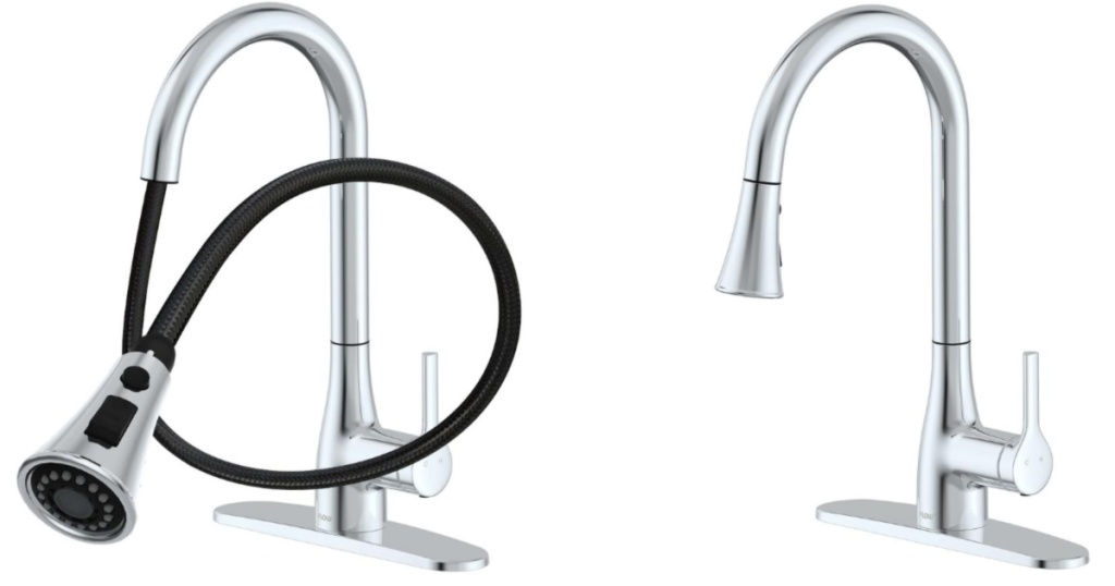 chrome Flow Classic Series Single-Handle Standard Kitchen Faucet with faucet extended