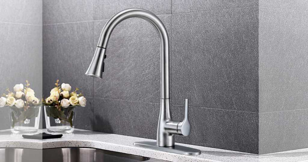 chrome Flow Classic Series Single-Handle Standard Kitchen Faucet on kitchen sink