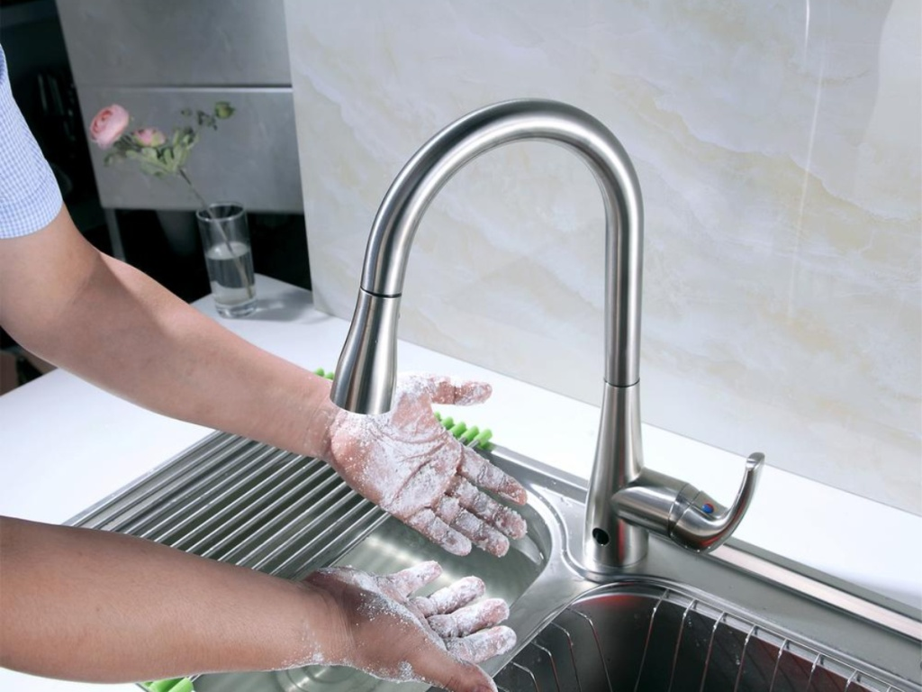 dirty hands under Flow Single-Handle Pull-Down Sprayer Kitchen Faucet with Motion Sensor in Brushed Nickel
