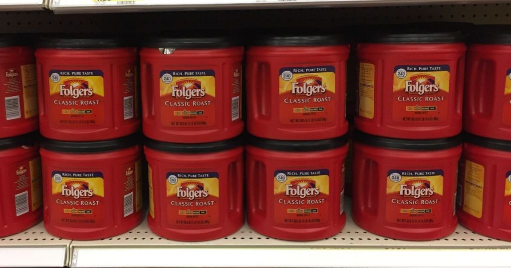 store shelf with tubs of folgers ground coffee
