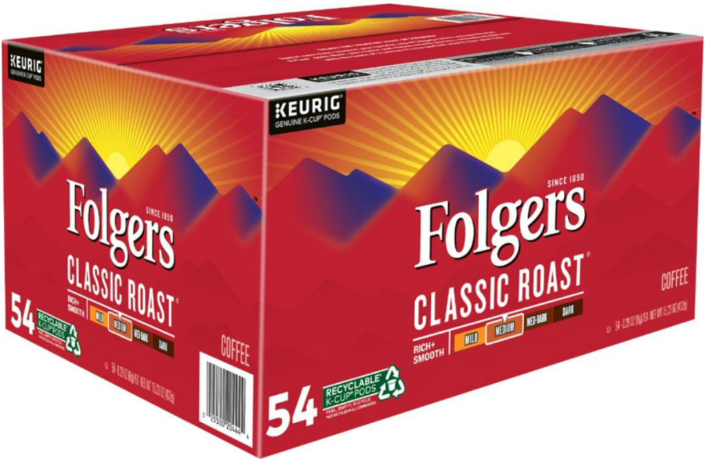 Large case of Folgers brand k-cups