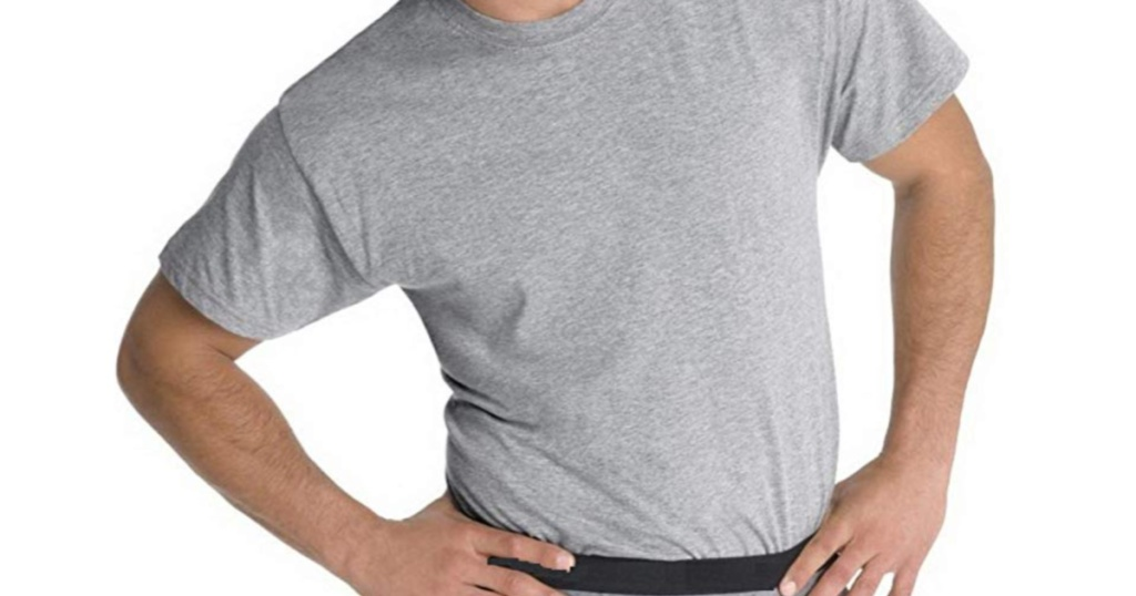 man in men's grey t-shirt