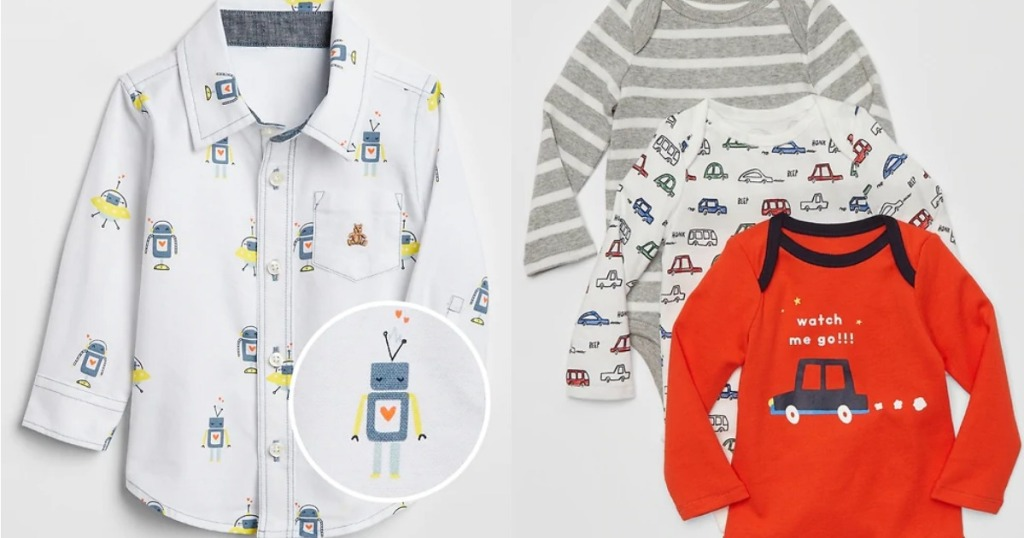 baby boys button-up robot print shirt and onesies