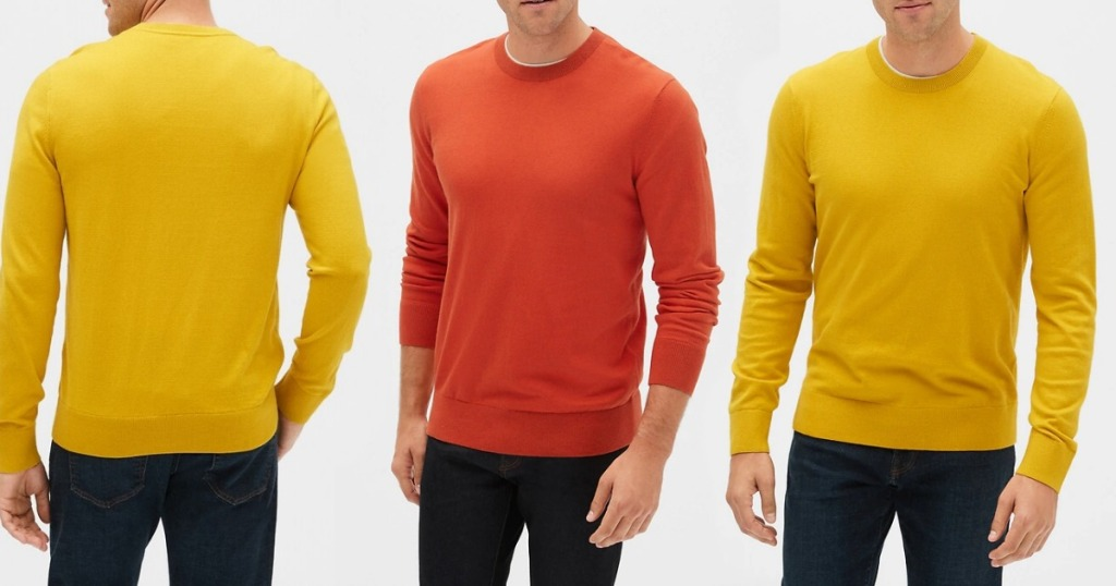 men wearing red and yellow sweaters