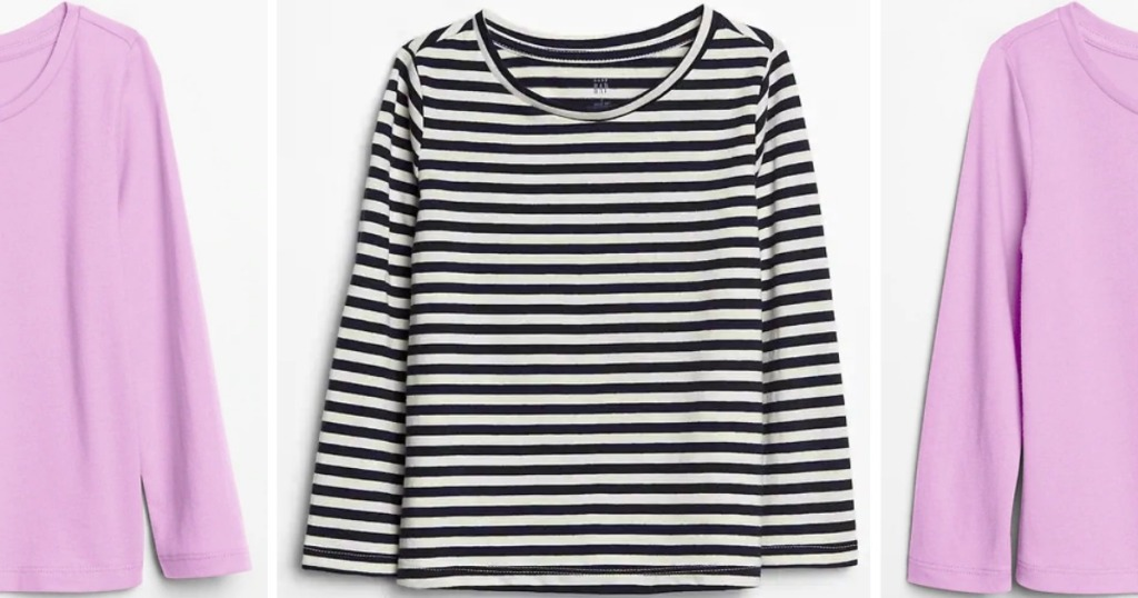 GAP toddler tees in pink and black and white stripes