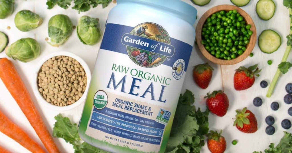 Large canister of raw organic meal replacement near plants and vegetables on surface