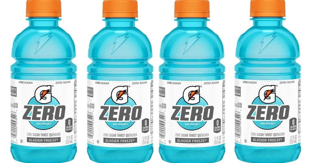 four Gatorade Zero Glacier Freeze bottles