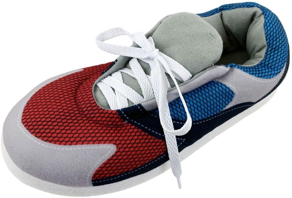 one left foot mens slipper that looks like a big plush sneaker