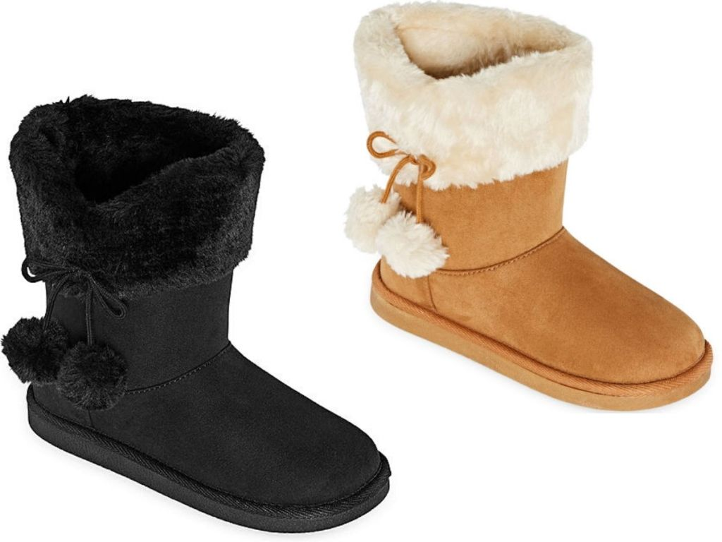 two right foot girls boots with fur and dangly pom poms