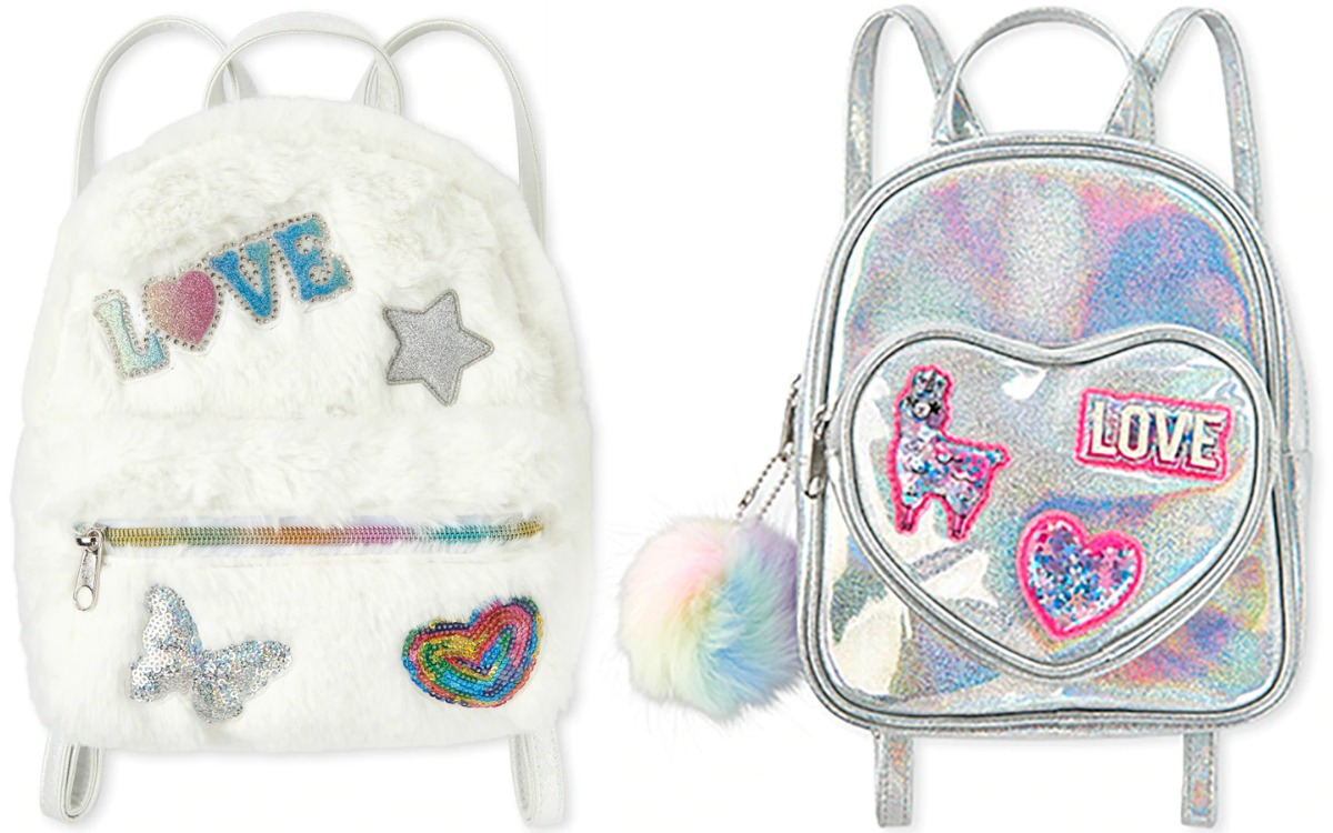 Two styles of mini backpacks - one holographic, one white faux fur