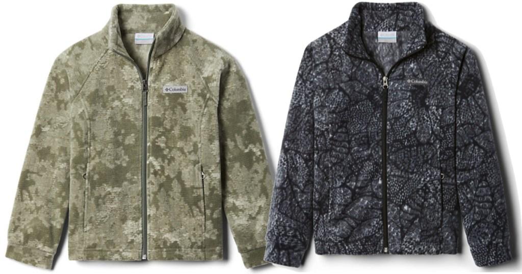 green camo and black Girls Benton Springs II Printed Fleece Jacket