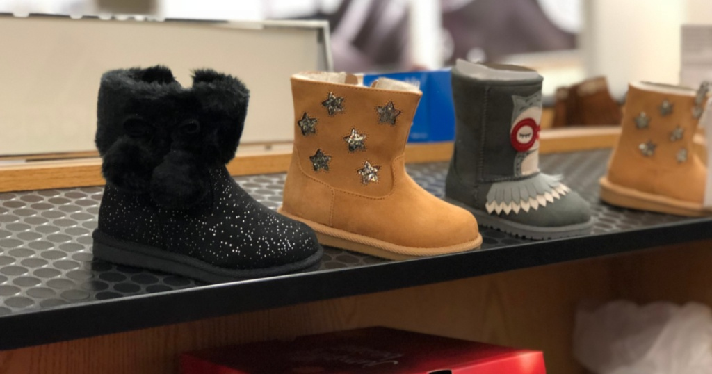 girl's boots on store shelf