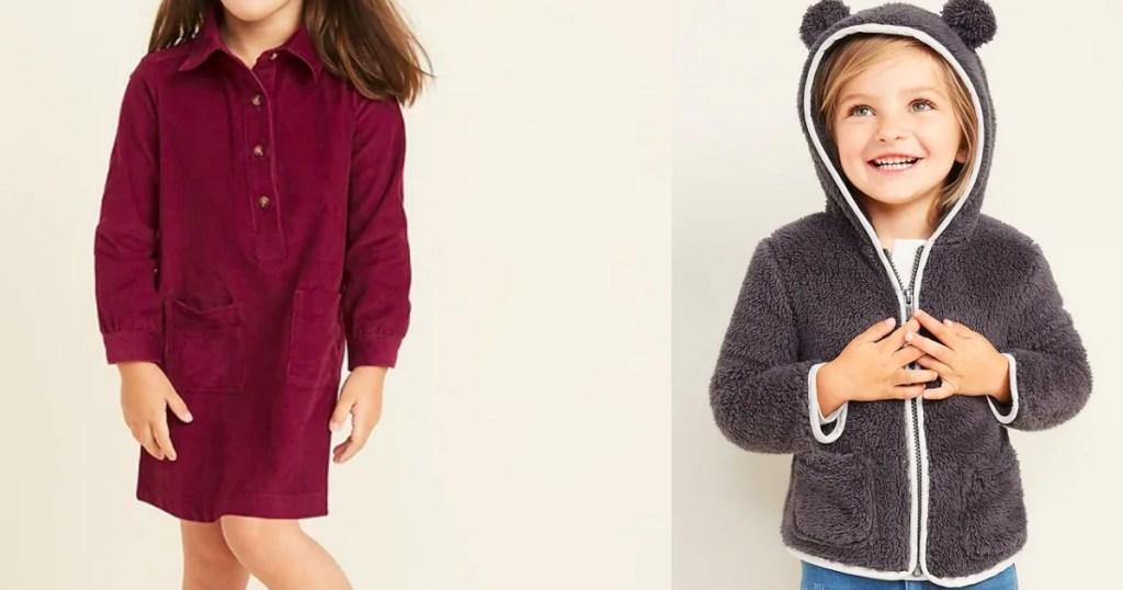 girl wearing a dress and a girl wearing a sweatshirt