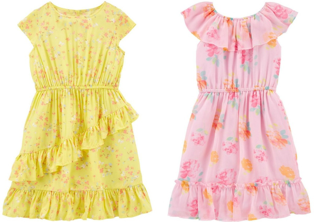 Two styles of girls floral spring dresses