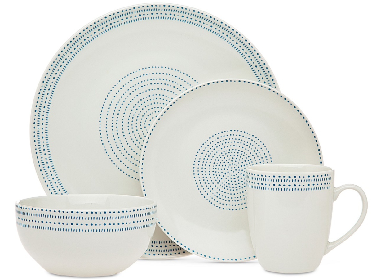 white and blue patterned dinnerware set