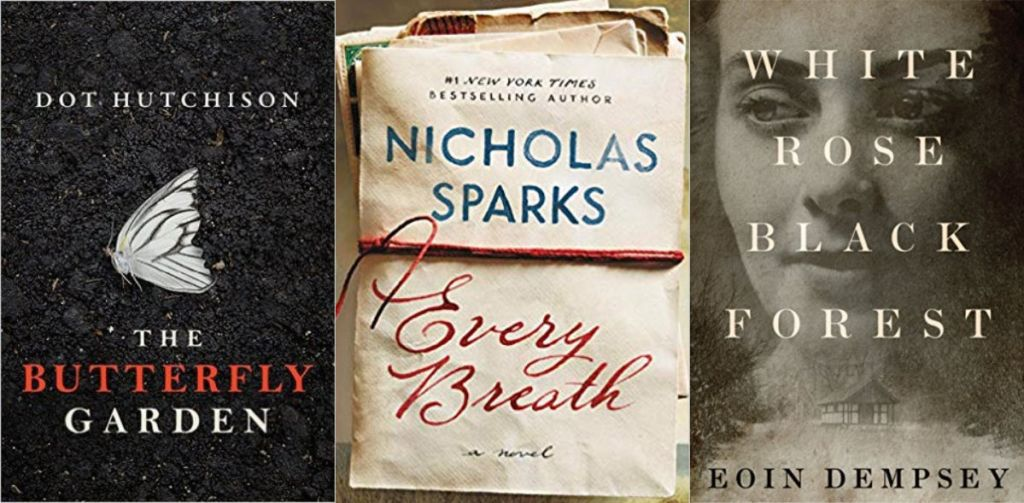 every breath, white rose black forest, and the butterfly garden book covers