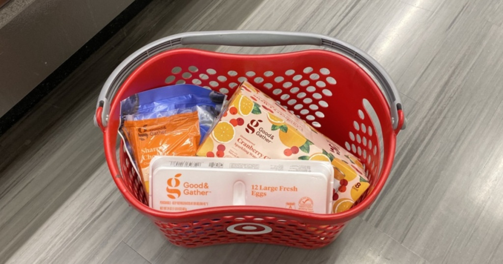 various grocery items in shopping basket