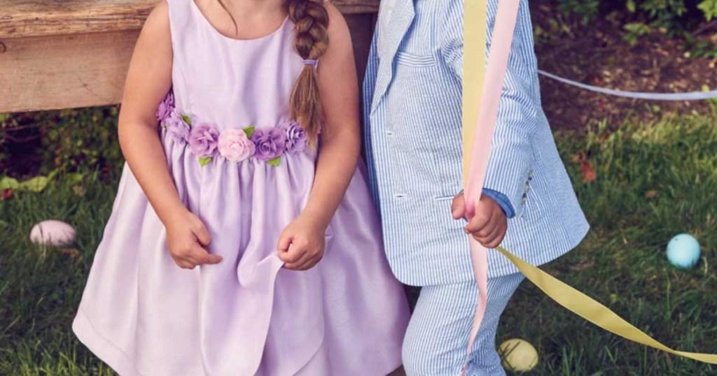 Little girl wearing gymboree dress