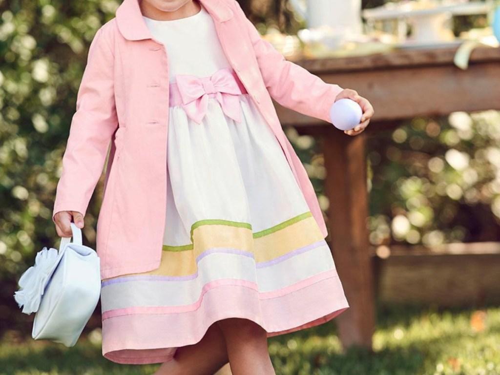 Little girl wearing Gymboree easter dress