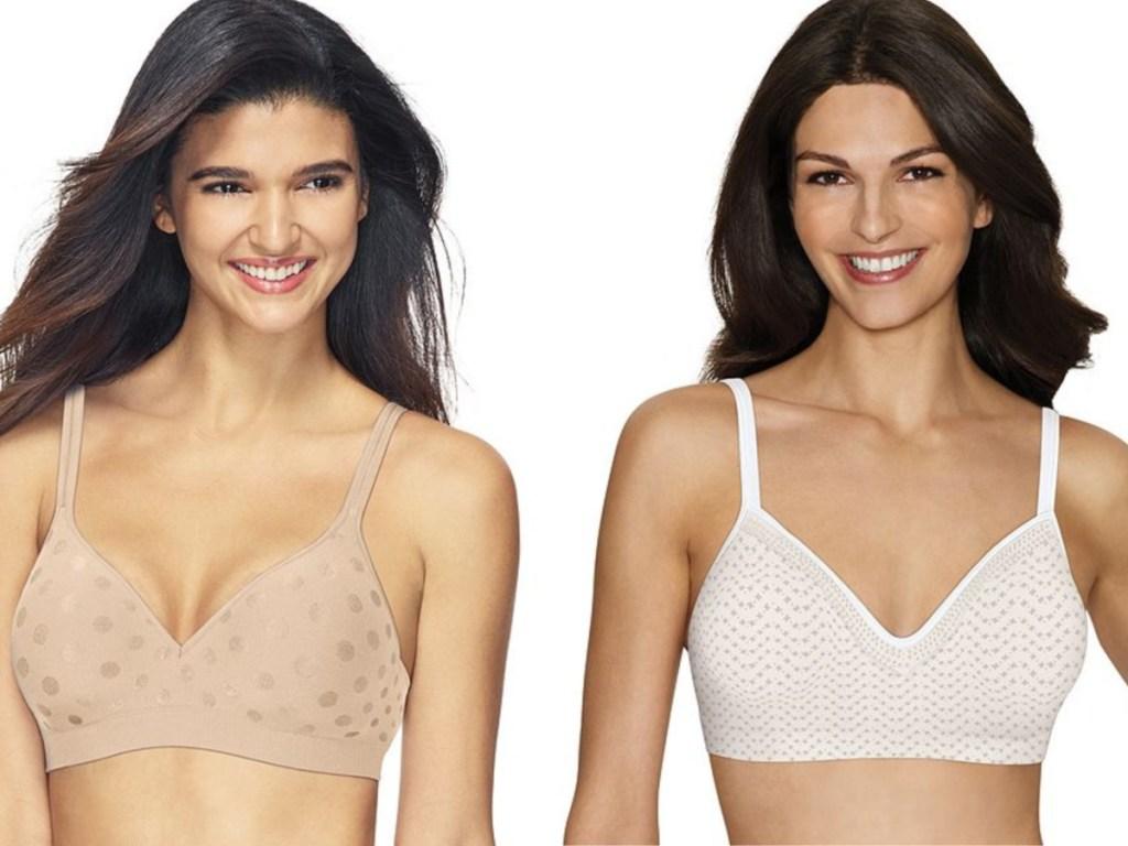 women wearing tan and white bras