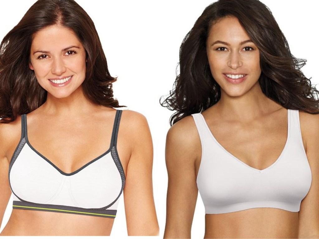 women wearing white bras