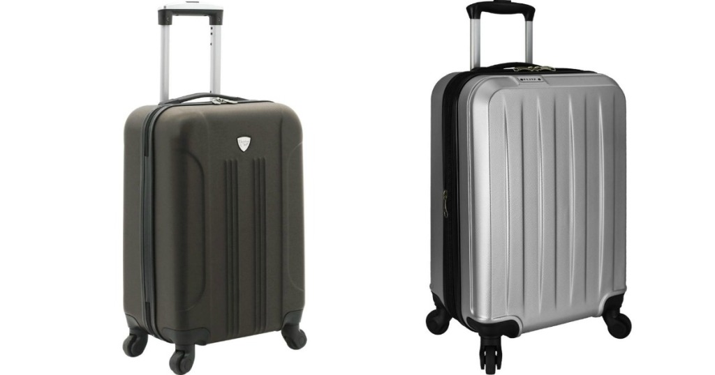 two hardside suitcases